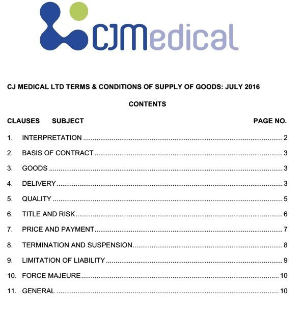 CJ Medical Terms and Conditions of Sale of Goods July 2016